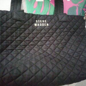 Steve Madden Black Quilted Handbag Gold Hardware